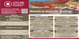Inscripción 2018, Maestría en Desarrollo Territorial. (UTN – Buenos Aires, Escuela de Posgrado).