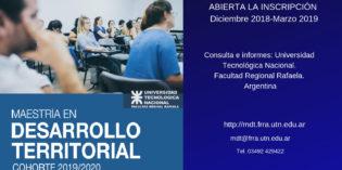 Inscripción abierta Maestría en Desarrollo Territorial. Rafaela